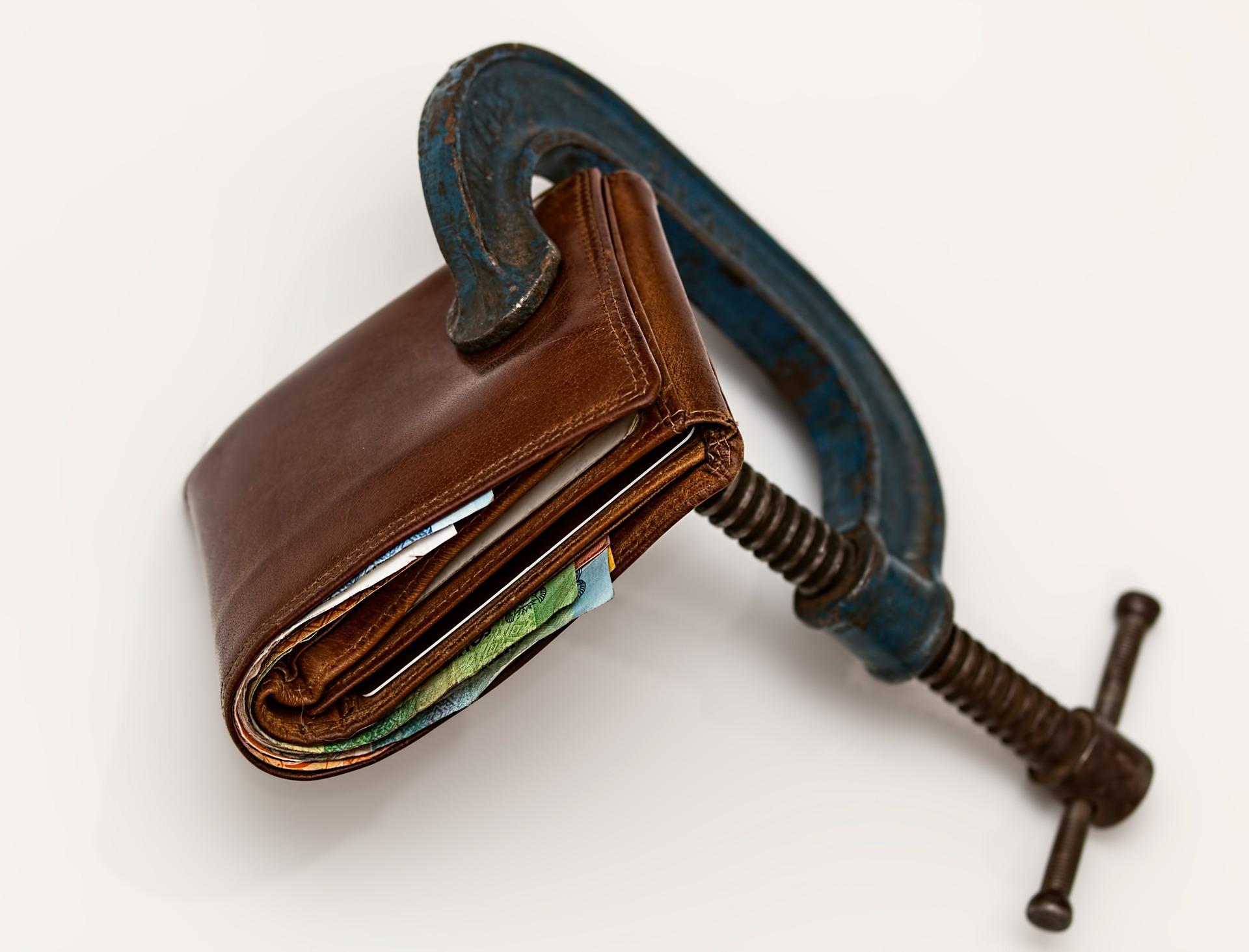 Geldbeutel Finanzielle Schwierigkeiten
